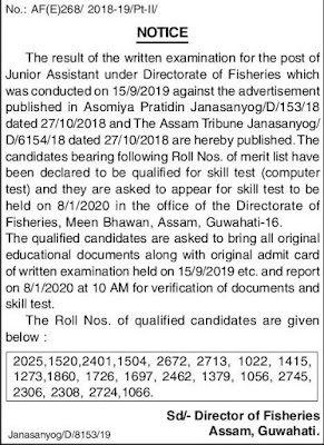 Director of Fisheries Assam, Guwahati, Exam Result Notification 2019