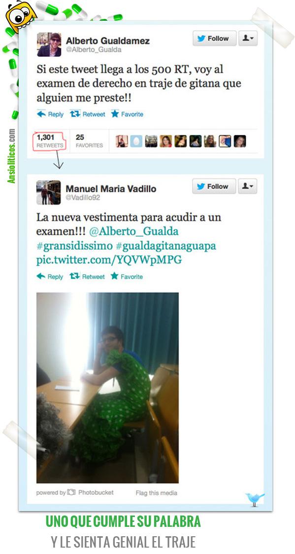 Chiste de Apuestas Perdidas: Examen con Traje de Sevillana