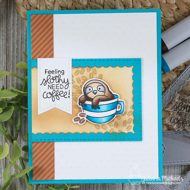 Slothy Coffee Card by Juliana Michaels featuring Newton's Nook Designs Slothy Coffee Stamp Set