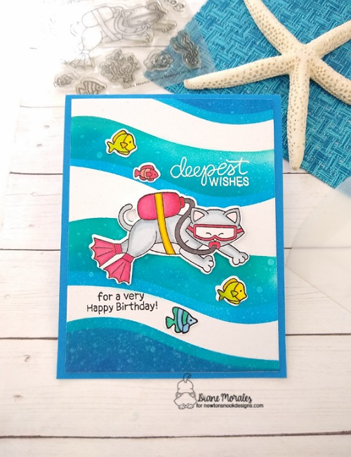 Deepest wishes by Diane features Scuba Newton and Grasses & Hills by Newton's Nook Designs; #inkypaws, #newtonsnook, #birthdaycards, #cardmaking, #catcards