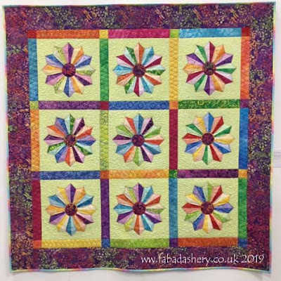 'Funky Dresdens' made by Christine Porter,  quilted by Frances Meredith at Fabadashery Longarm Quilting