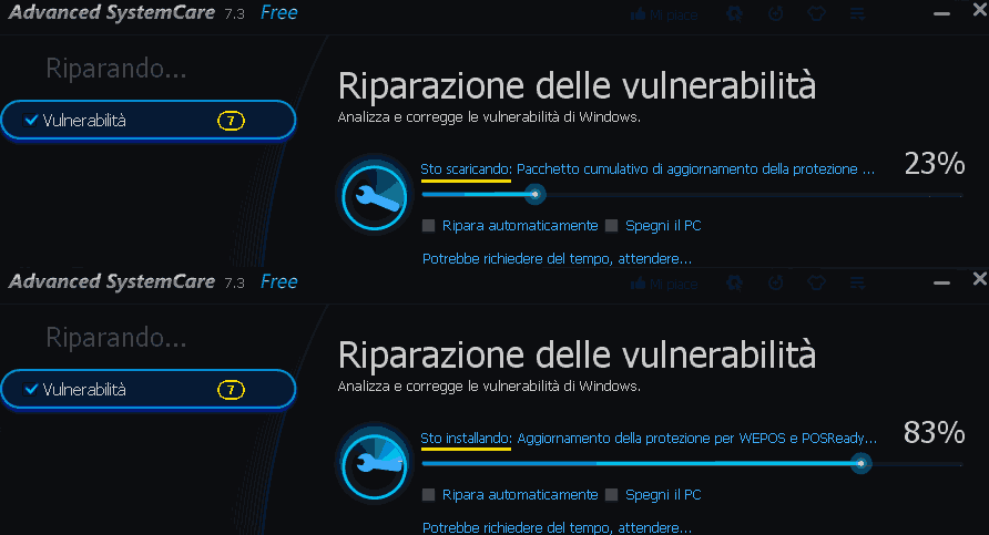 Advanced SystemCare download e installazione aggiornamenti Windows