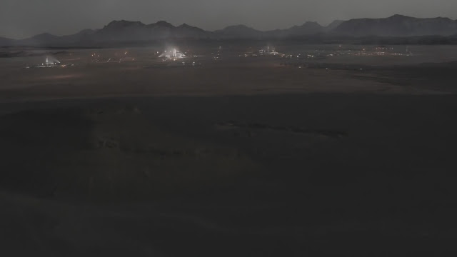 Human base at night - image from Season 2 of NatGeo MARS TV series