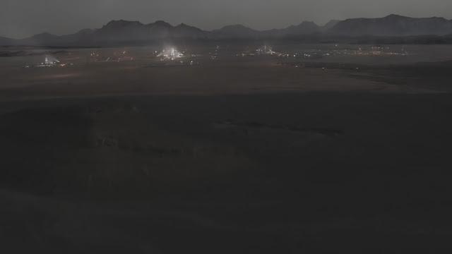 Human base at night - image from Season 2 of NatGeo MARS TV series