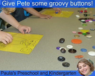 Fun preschool or kindergarten activities and ideas for learning about cats and dogs. (Pete the Cat groovy buttons)