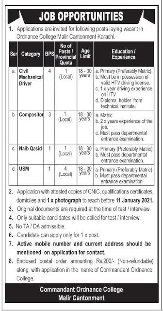 Pak Army Commandant Ordnance College Jobs 2021 in Karachi | Govt Jobs