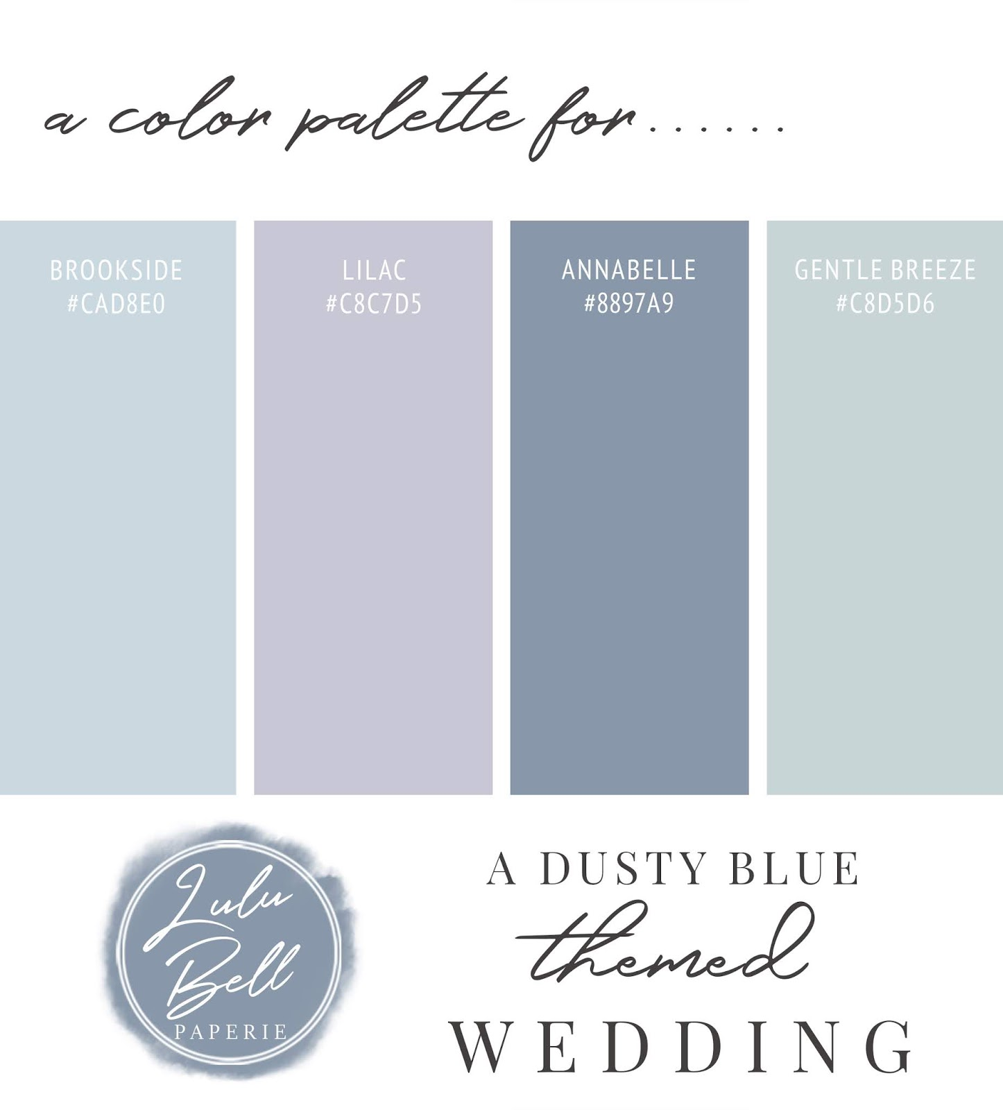 Dusty Blue, Lavender Purple, and Mint Green Wedding Color Palette Swatch Card : Brookside Blue, Lilac Purple, Annabelle Blue, and Gentle Breeze Green