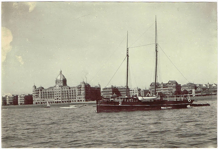 Taj Mahal Hotel from Sea - Bombay (Mumbai) c1900