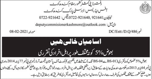 Deputy Commissioner Office Jobs 2021