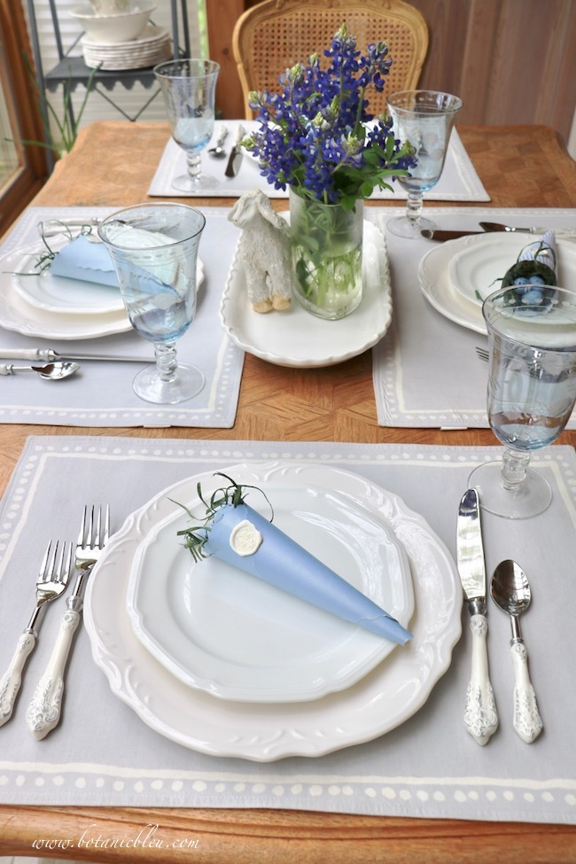 Easter Table With Bluebonnets has several little details to create a French Country style