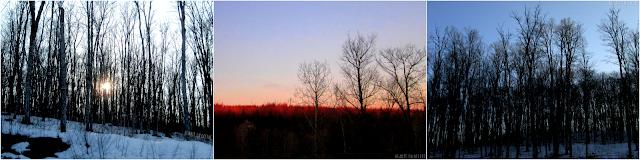 Paysage et coucher de soleil durant mon souper à la cabane JaRo.