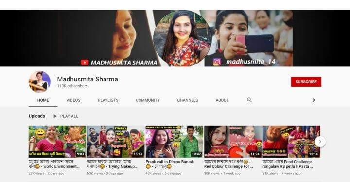 Assamese girl youtuber with channel link   top assamese girl youtuber