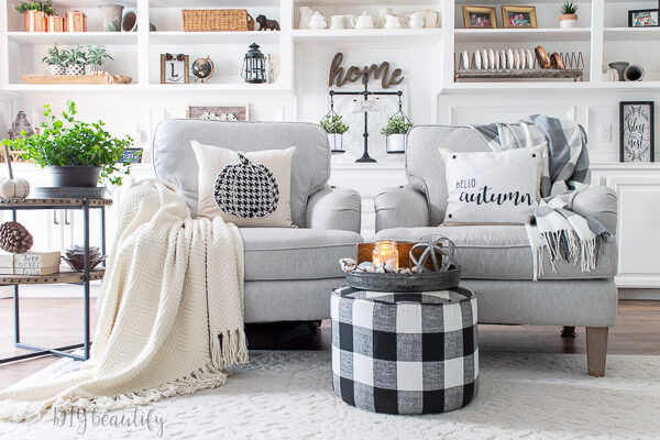 living room neutral fall decor