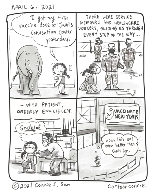 Diary comic about getting vaccinated at Javits Center in NYC, sketchbook, pandemic year, comic illustration by Connie Sun, cartoonconnie