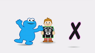 animated cartoon Cookie Monster sings a song about the X sound in the word X-ray, Sesame Street Episode 4313 The Very End of X season 43
