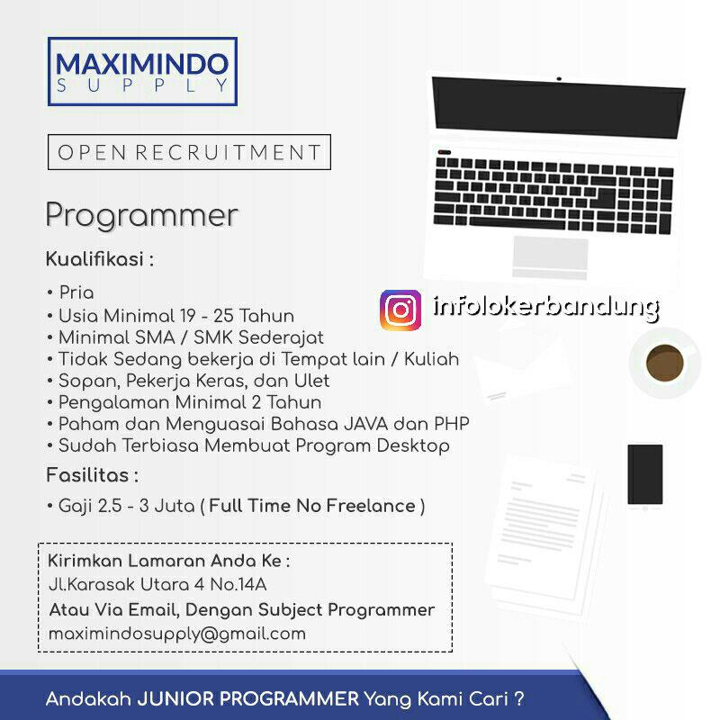 Lowongan Kerja Programmer Maximindo Supply Agustus 2017 Info