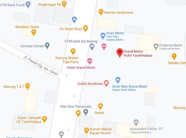 Map Letak Hotel Grand Metro Tasikmalaya