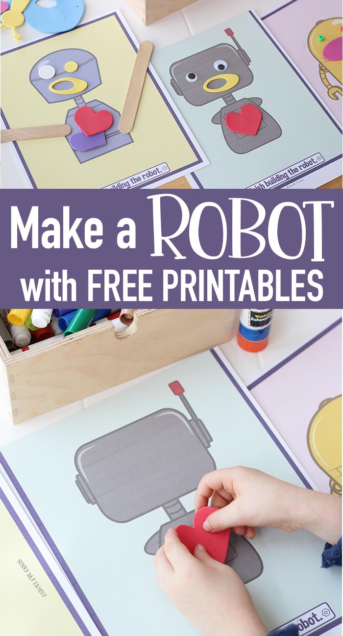 Make a robot with FREE printable templates! A super easy robot craft for kids that is fun for all ages. Perfect for preschool through elementary age kids. Create your own robot with these fun free templates. Perfect for robot birthday party activities too! #kidscrafts #kidsactivities #robot #freeprintable #instantdownload
