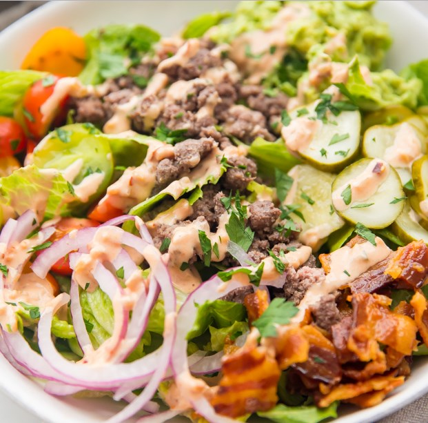 """Loaded Burger Bowls with """"Special Sauce"""" (Whole30, Paleo, Low Carb) #healthydiet #diet"""