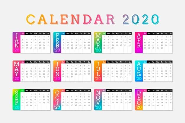 Plantilla de calendario 2020 gratis en degradado
