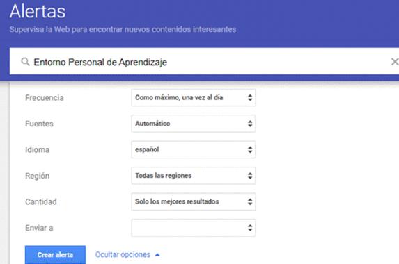Google Alertas es una buena herramienta para tu Entorno Personal de Aprendizaje