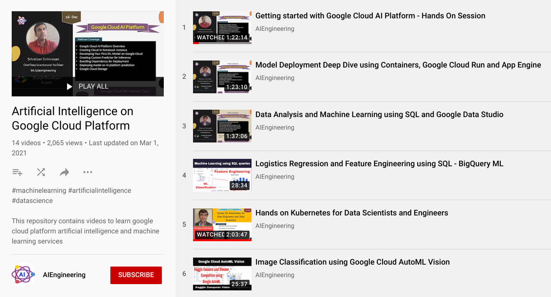 Google Cloud Platform YouTube playlist screenshot