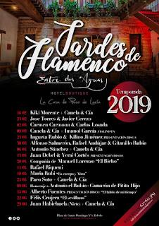 Cartel con todos los artistas de la temporada de Tardes de flamenco 2019