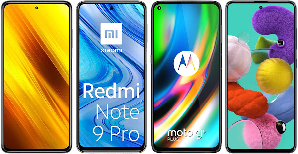 Xiaomi POCO X3 NFC 128 GB vs Xiaomi Redmi Note 9 Pro 128 GB vs Motorola Moto G9 Plus vs Samsung Galaxy A51