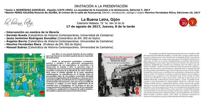 Invitación al acto de presentación en Gijón de El crimen de la calle de Fuencarral