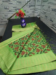Kota Viscouse Hand Print Saree