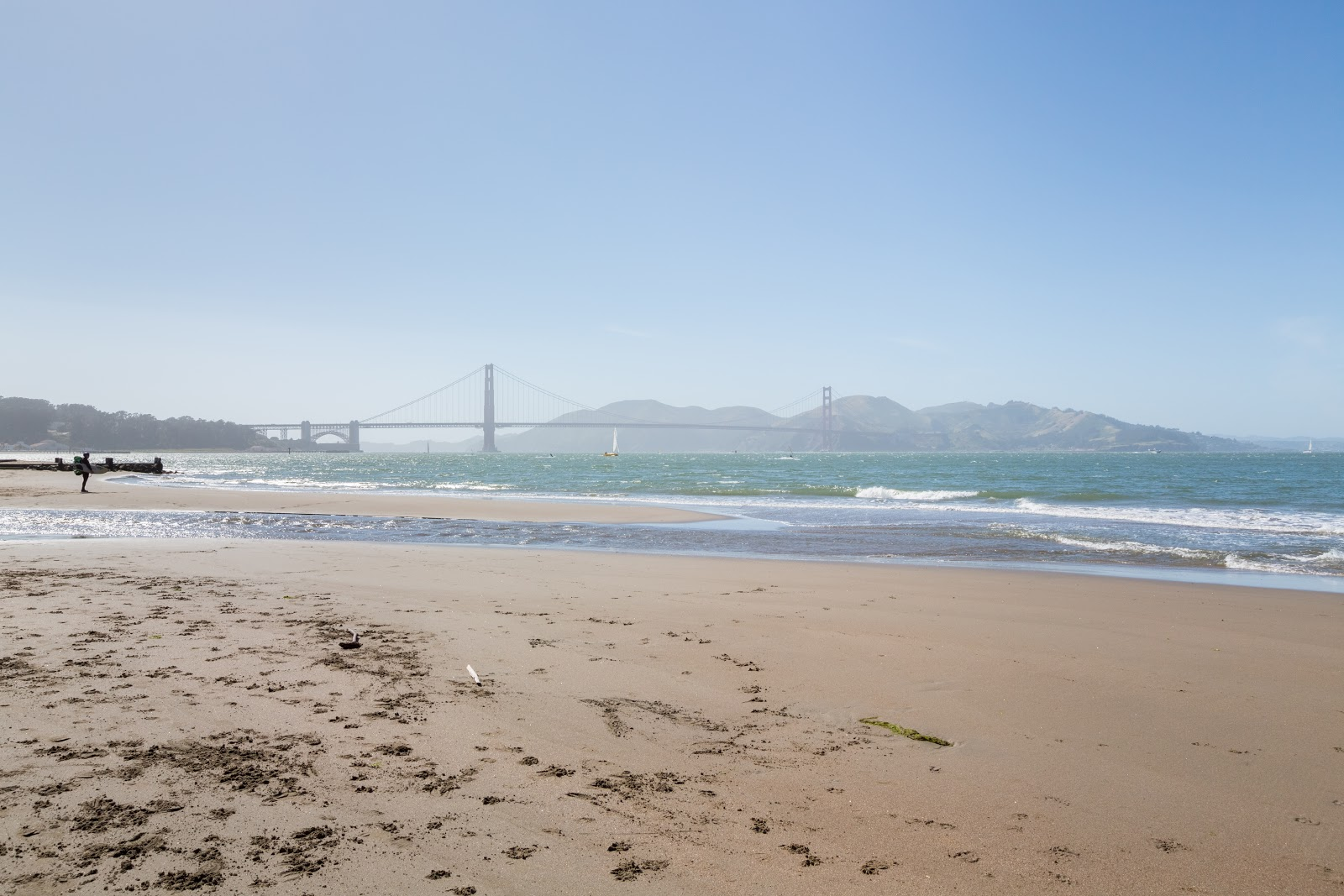 Scenery Photo Of Crissy Field East Beach And The Golden Gate Bridge On Left Side Is Fort Point