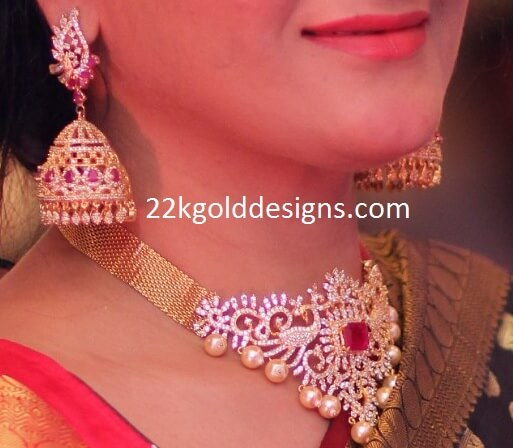 Diamond Peacocks Necklace with Big Diamond Jhumkas