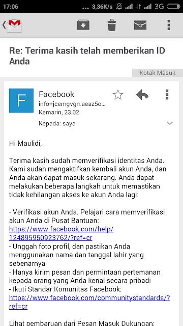 Email pengaktivan akun facebook