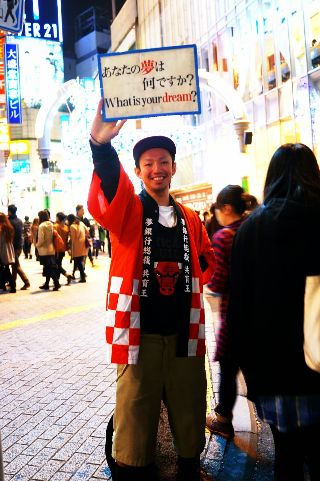 Shibuya intersection japanese person what's your dream sign