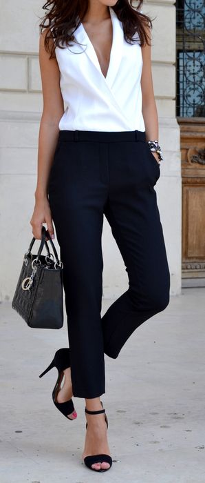 business style addiction / white shirt + bag + black pants + heels