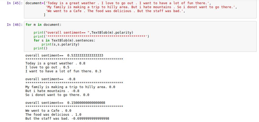 Sentiment Analysis using textblob Library