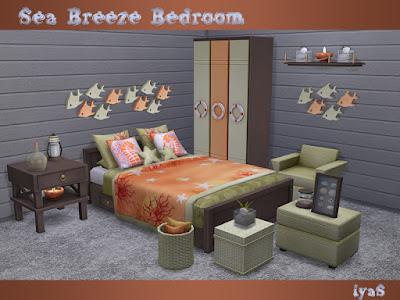 """Sea Breeze Bedroom Спальня """"Морской бриз"""" для The Sims 4 Морской набор для спальни. Имеет 4 цветовых вариации. Включает в себя 16 предметов: - кровать - покрывало - два вида постельных подушек - комод - конец стола - два журнальных столика - живой стул - корзина с подушками - оболочка под стеклом - камни под стеклом - сосуд с песком - ваза - настенный декор рыб - растение Автор: soloriya"""