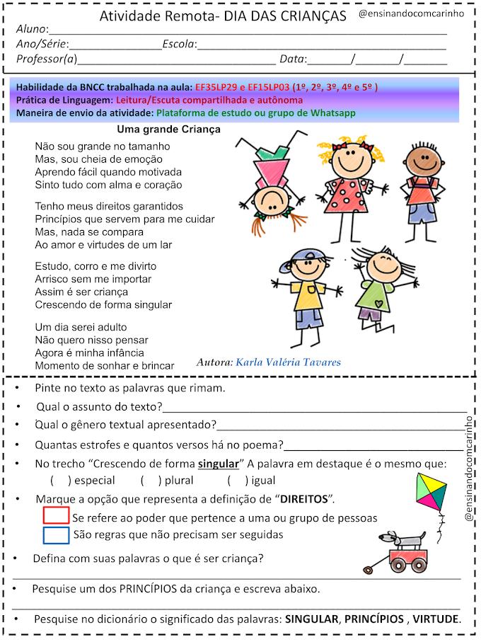 Atividade de interpretação de texto para o dia das crianças de acordo com a BNCC