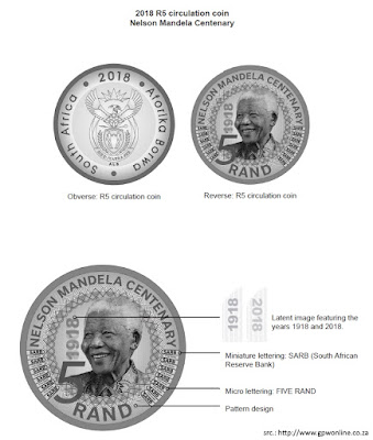 South Africa, R5 coin 2018, Nelson Mandela, Rand, 5 Rand