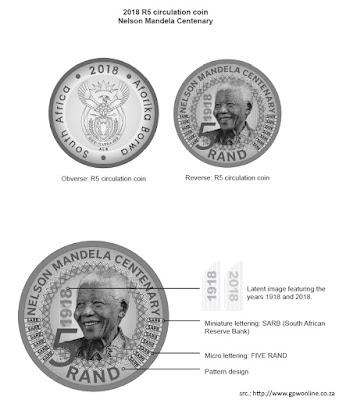 South Africa, R5 coin 2018, Nelson Mandela, Rand, 5 Rand