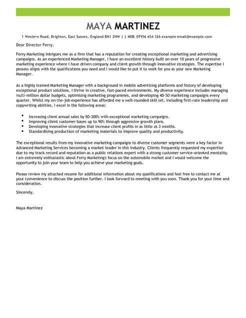 Contoh Surat Lamaran Kerja Marketing Manager Bahasa Inggris