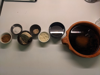 The listed ingredients arranged in bowls
