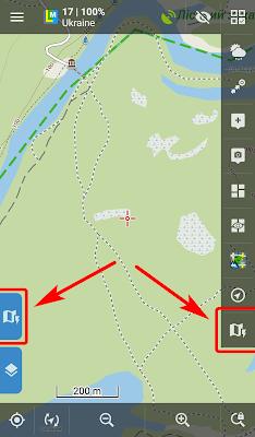Кнопки Быстрое переключение карт на левой и правой панелях