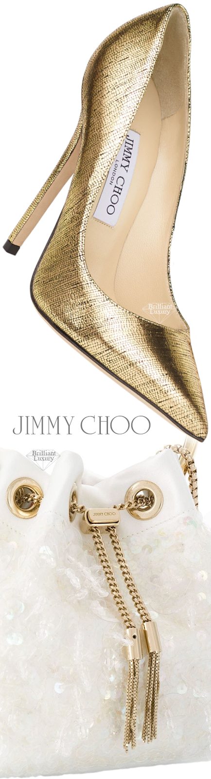 Perfect Pairings♦Jimmy Choo Anouk Metallic Gold Lizard Print Leather Pointed Pumps and White Bon Bon Dumpling Bag #brilliantluxury