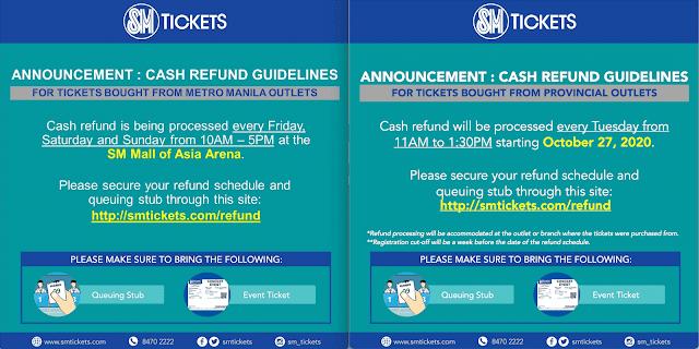 sm tickets cash refund process