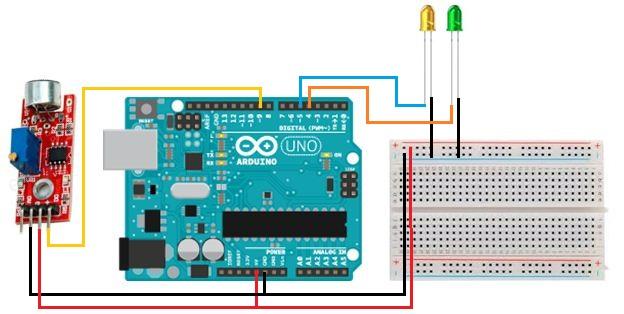 Rangkaian Menggunakan sensor suara(Condenser Mic Sensor) Arduino