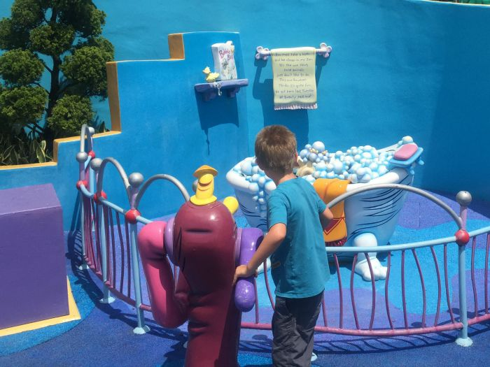 The Rabbit Who Wants to Fall Asleep Review | Morgan's Milieu: My boy enjoys playing in Seuss Landing, Universal Studios.