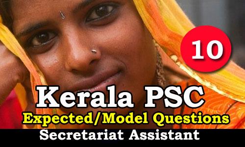 Kerala PSC Secretariat Assistant Expected Questions - 10