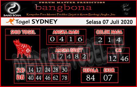 Prediksi Bangbona Sydney Selasa 07 Juli 2020