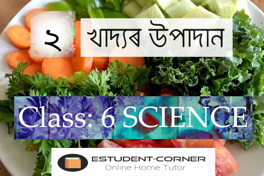 খাদ্যৰ উপাদান, Lesson 2, Class 6, Science, Assamese medium, SCERT